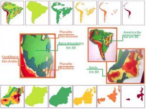 Há duas sequências de imagens que representam a construção de um mapa em diferentes camadas. As sequências estão dispostas no topo e na parte de baixo. Há, também, três imagens centralizadas que demonstram os resultados dessas sequências. A sequência de cima apresenta na ponta esquerda o mapa da América do Sul pronto e nas cinco imagens que se seguem à sua direita cada uma das camadas que foi utilizada na construção do mapa inteiro. Na sequência que se encontra na parte de baixo, na ponta esquerda está a imagem do estado de Goiás e nas cinco imagens à sua direita cada uma das camadas que foi utilizada na construção do mapa inteiro. O grande trunfo dessas sequências e mapas é demonstrar que com camadas feitas em massinha e em níveis de altura distintas, o aluno pode perceber quando está numa bacia e quando chegará na cordilheira, passando por planaltos, planícies e depressões no caminho. O aluno sente ou visualiza melhor a bacia amazônica mais baixa e em verde, depois segue com olhar ou com o tato para, por exemplo, o planalto das Guianas que está em amarelo e mais elevado.