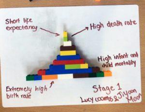 Pirâmide etário-sexual construída com peças de montar colocadas sobre um papel que descreve suas características. No caso, trata-se de uma pirâmide típica de países com problemas ligados à mortalidade elevada e baixa expectativa de vida, pois isso é possível perceber tendo em mente que a base dessa pirâmide é muito mais ampla contando com 11 colunas de encaixe das peças de montar, enquanto o topo conta com apenas uma única coluna dessas peças de encaixe, ou seja, essa redução de colunas representa uma elevada mortalidade já que poucos dos que nascem conseguem chegar ao topo da pirâmide e atingir idades mais avançadas. As peças se encaixam perfeitamente montando a pirâmide.