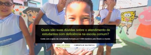 Print da página inicial do site DIVERSA. Há uma fotografia de um grupo de crianças em uma escola sorrindo. Na frente da imagem, está escrito Quais são suas dúvidas sobre o atendimento de estudantes com deficiência na escola comum? Conte com o apoio da comunidade formada por 4.000 membros pelo Brasil e o mundo