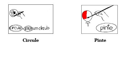 A figura traz duas instruções. No primeiro quadro, a instrução é circule e a imagem associada é a de uma mão segurando uma caneta e traçando um círculo. No segundo quadro, a instrução é pinte. A imagem que faz a associação é a de uma mão segurando um pincel e pintando uma bexiga de vermelho.