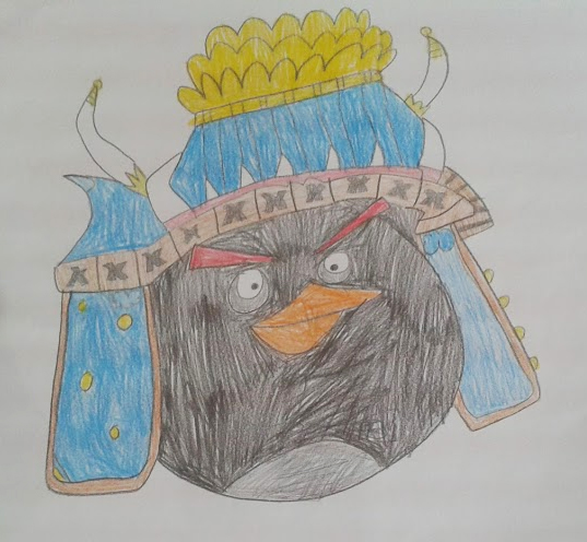 Desenho de um dos personagens de Angry Birds feito pelo estudante.