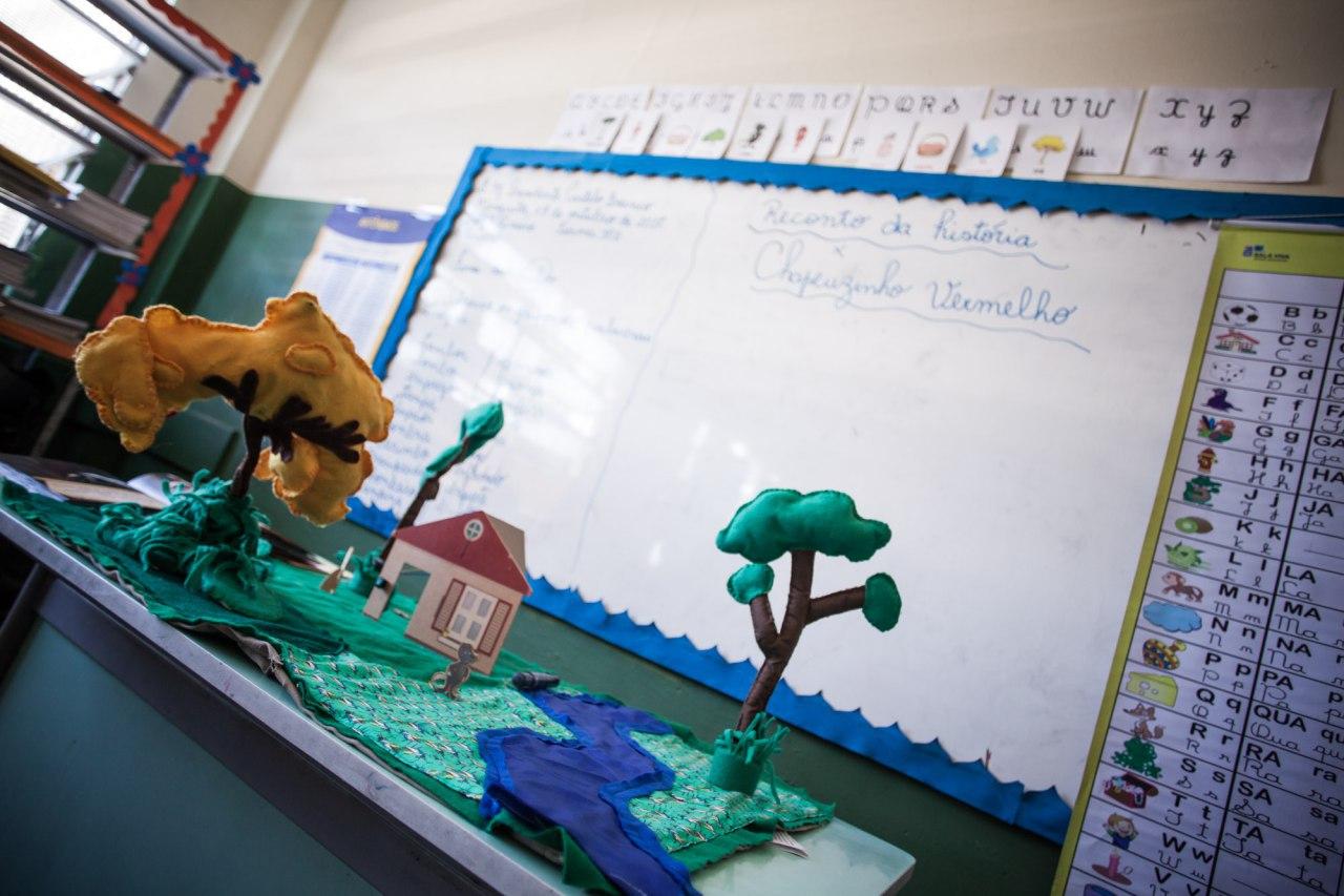 Tapete estendido sobre duas carteiras escolares. O recurso conta com árvores de tecido, elementos da natureza, casas, bonecos etc.