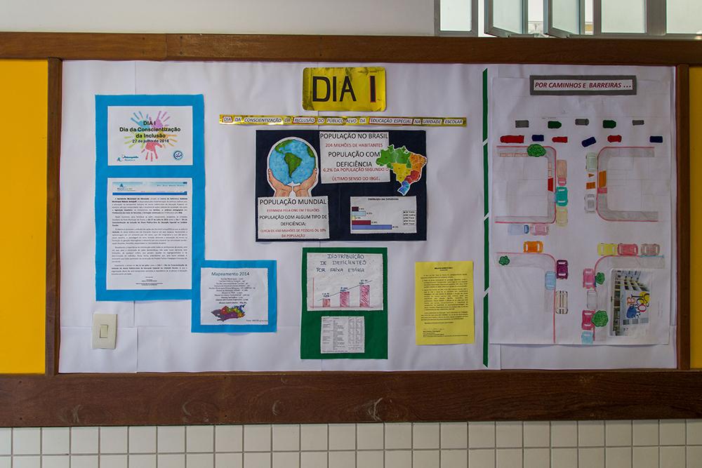 Mural com cartazes mostra trabalhos dos estudantes sobre inclusão e pessoa com deficiência.