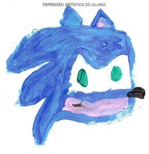 Desenho feito por Marcos do personagem Sonic, dos videogames.