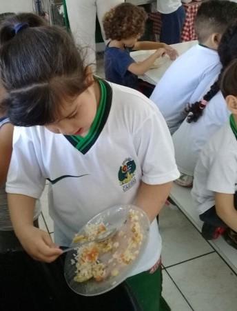 Sophia joga os restos de comida de seu prato dentro de um lixo.