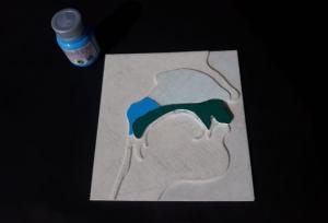 Modelo de placa impressa em 3D e embalagem de tinta