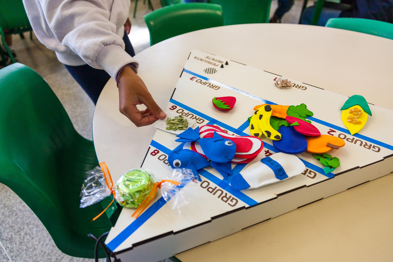 O material pedagógico acessível pirâmide alimentar sobre uma mesa. Ele contém itens em miniatura de alimentos, como verduras, peixes, carnes e frutas. A mão de um estudante está colocando um saco de ervilhas sobre o material. Fim da descrição.