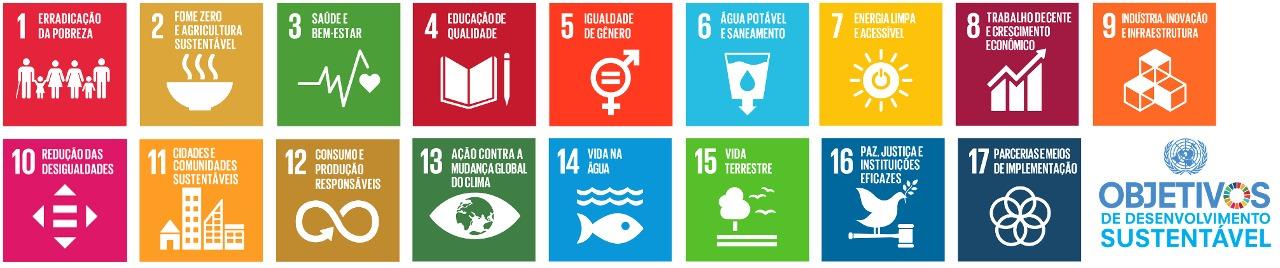 Selos dos objetivos de desenvolvimento sustentável: 1. Erradicação da pobreza 2. Fome zero e agricultura sustentável 3. Saúde e Bem-estar 4. Educação de qualidade 5. Igualdade de Gênero 6. Água potável e Saneamento 7. Energia Acessível e Limpa 8. Trabalho decente e crescimento econômico 9. Indústria, Inovação e Infra-estrutura 10. Redução das desigualdades 11. Cidades e comunidades sustentáveis 12. Consumo e produção responsáveis 13. Ação contra a mudança global do clima 14. Vida na água 15. Vida terrestre 16. Paz, justiça e instituições eficazes 17. Parcerias e meios de implementação. Fim da descrição.