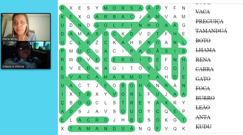 Exemplo de atividade com palavras cruzadas realizadas a distância. Fim da descrição.