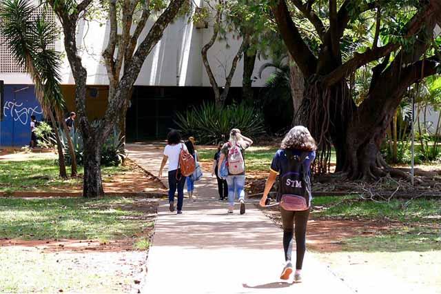 Cinco estudantes com mochila nas costas andam separadamente em direção à entrada de escola, passando ao lado de árvores. Fim da descrição.