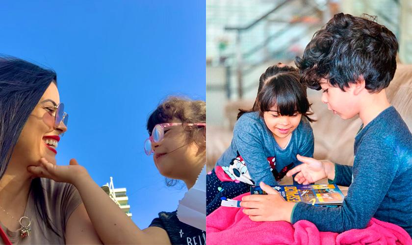 Montagem de duas fotos. À esquerda, Carol Rivello com a filha, Alice. A mãe sorri para a menina, que toca em seu rosto; ao fundo, céu azul. À direita, Alice, menina branca, que possui cabelo castanho-escuro e síndrome de down, está em sofá com o irmão, Antônio, também branco com cabelo castanho; eles olham livro que está no colo do menino. Fim da descrição.