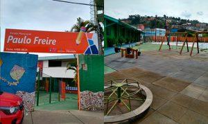 Montagem com duas fotos. A da esquerda mostra a fachada da Escola Municipal Paulo Freire, com muros externos nas cores verde e azul e muro interno branco, a da direita mostra o parquinho em área externa da escola. Ao fundo, moradias do bairro onde a unidade escolar está localizada. Fim da descrição.